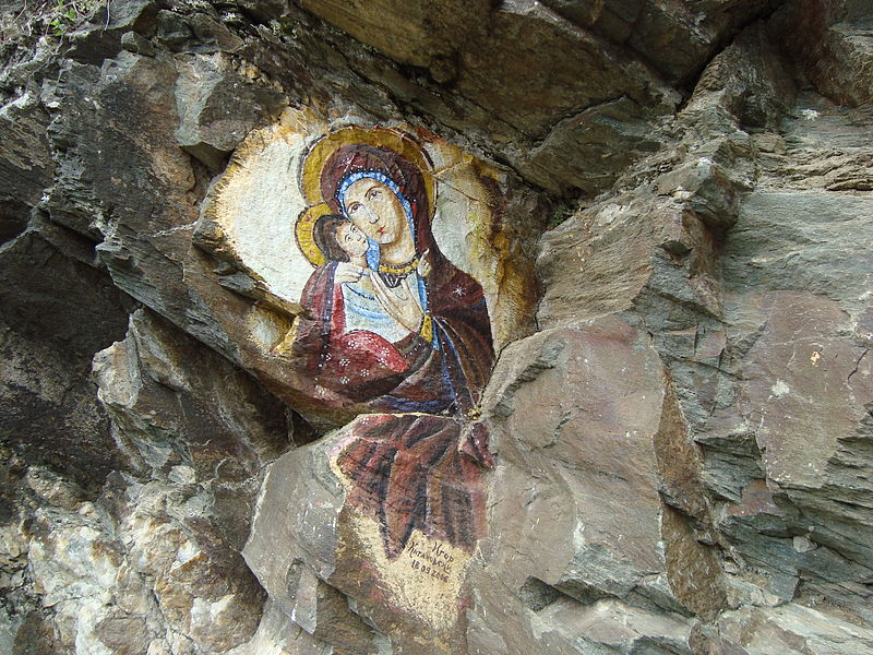 800px painting of virgin mary on a rock in osogovo monastery  macedonia